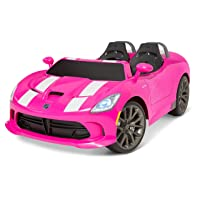 Kid Trax Dodge Viper SRT Convertible Toddler Ride On Toy, Ages 3 - 7 Years Old, 12 Volt Battery, Max Weight of 130 lbs, Two Seater, Working Lights, Pink
