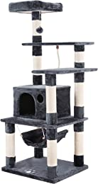 SONGMICS Cat Tree Condo Multi-level Cat Tower with Scratching Posts Kitten Furniture Play House
