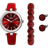 Burgi BUR241 - Reloj de pulsera con purpurina y correa de piel, con cuentas de cristal y pendientes de cristal a juego