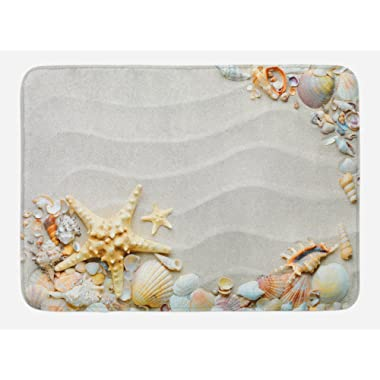 Ambesonne Starfish Bath Mat, Seacoast with Sand with Colorful Various Seashells Tropics Aquatic Wildlife Theme, Plush Bathroom Decor Mat with Non Slip Backing, 29.5 W X 17.5 L Inches, Multicolor