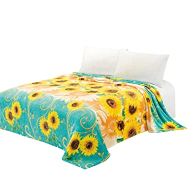 CaliTime Super Soft Throw Blanket for Bed Sofa Couch, Cozy Warm Flannel Fleece Teal Golden Sunflowers, King