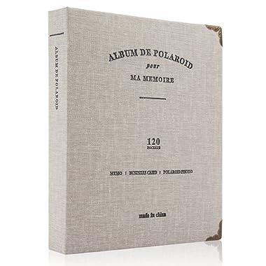 CAIUL Compatible 120 Pockets Mini Photo Album for Fujifilm Instax Mini 7s 8 8+ 9 25 26 50s 70 90 Film, Polaroid PIC-300 Z2300 Film (Grey)