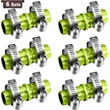 6 Pieces 5/8 Inch Garden Hose Repair Kits Aluminium Water Hose Mender Garden Hose Connectors with 12 Pieces Stainless Steel C