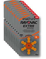 Rayovac Extra Advanced Hearing Aid Batteries, Size 13, Orange Tab, PR48, Pack of 60