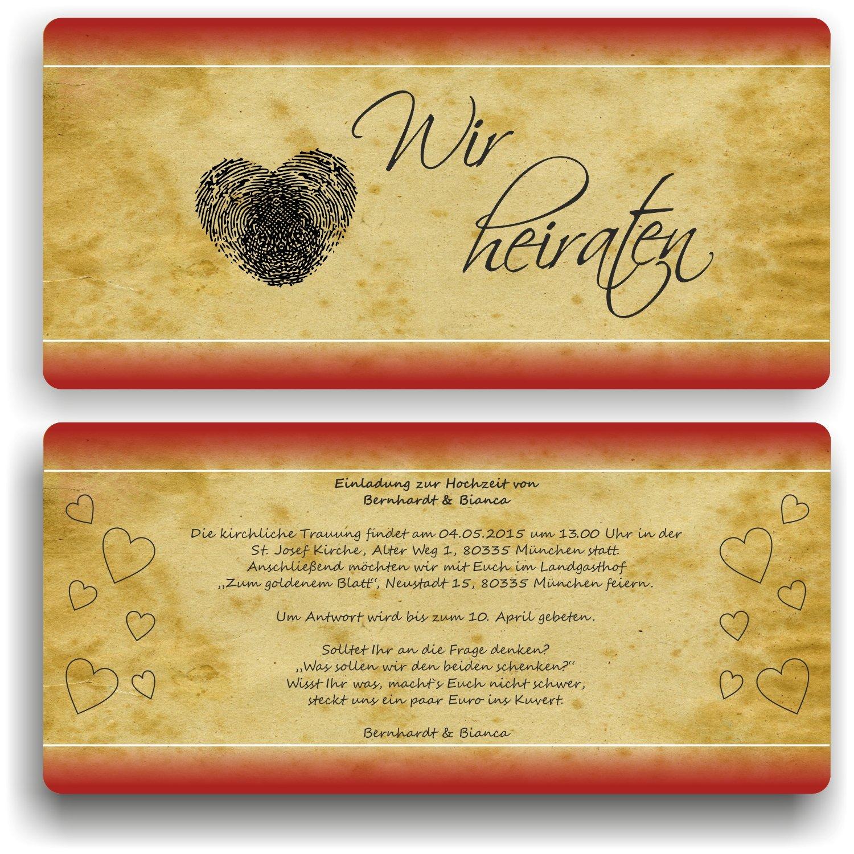 Einladung zur Hochzeit Hochzeit Hochzeit I Fingerabdücke - Wir heiraten I HO-014 Hochzeitseinladung (40 Stück) B0771K8JMG   Neu    Bevorzugtes Material    Der Schatz des Kindes, unser Glück  98ab34