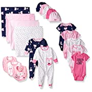 Gerber Baby Girls' 19-Piece Essentials Gift Set, Pink Fox, Newborn