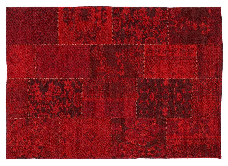 DALLIANCE ALLOVER Vintage Patchwork Velour Teppich in dk.rot, Größe  140x200 cm
