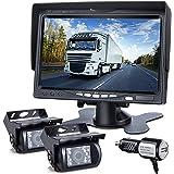 DVKNM Upgrade Dual Backup Camera Monitor Kit,7-inch LCD1280X720P HD,IP69 Waterproof Rearview Reversing Rear View Camera Rever