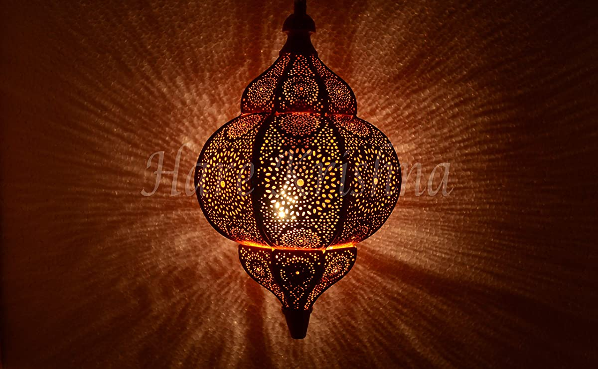 Indian Metal Hanging Light Shade Moroccan Pendant Lamp Shade (Orange) 12 x 7.5 Inches