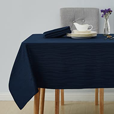 Deconovo Decorative Jacquard Tablecloth Vibrant Waves Wrinkle Water Resistant Spill-Proof Rectangle Tablecloths Wedding Decoration 60 x 102 inch Navy Blue