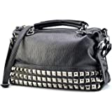 Mn&Sue Modern Punk Pu Leather Cross Body Silvery Rivet Studded Shoulder Nightclub Hobo Handbag for Lady