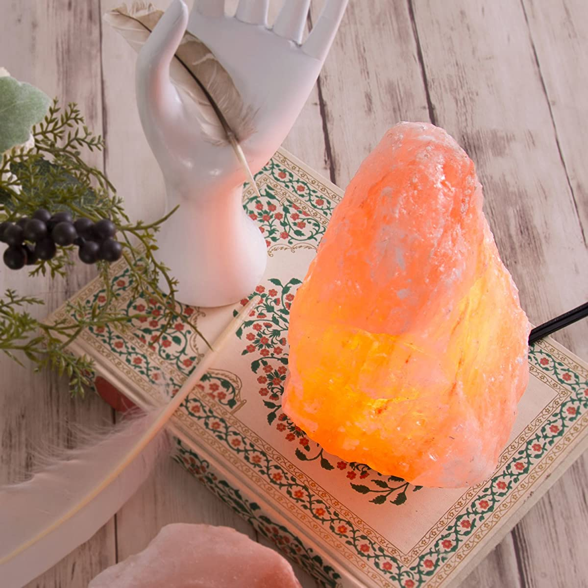 Crystal Allies Natural Himalayan Salt Lamp and 2 Piece Natural Tea Candle Holder Combo with Dimmable Cord and Bulb