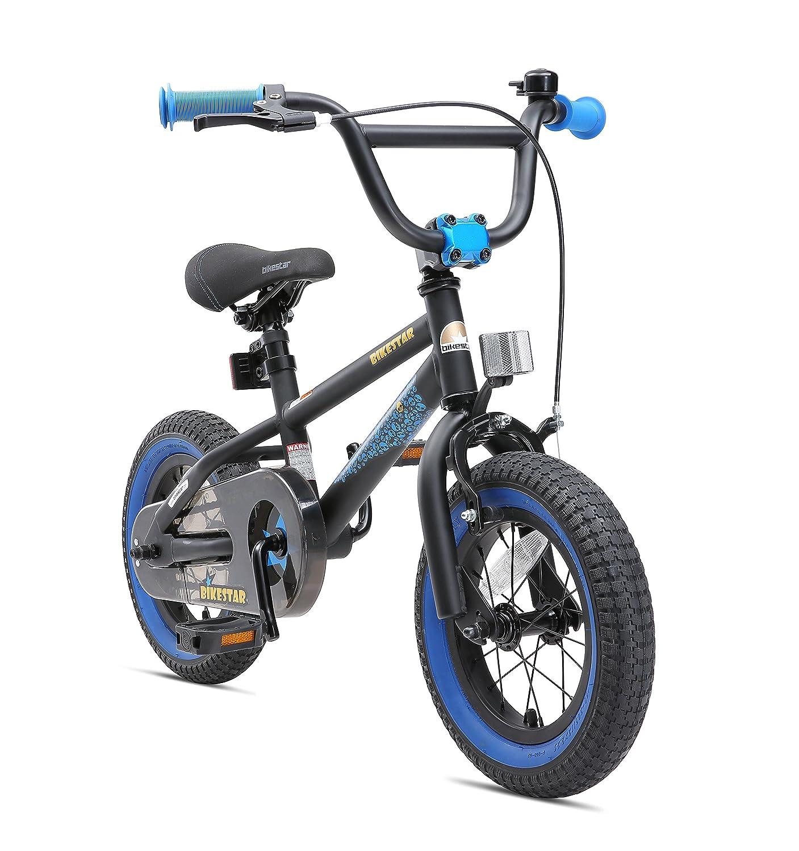 BIKESTAR Bicicletta Bambini 3-4 Anni da 12 Pollici   Bici per Bambino et Bambina BMX con Freno a retropedale et Freno a Mano   Nero & Blu