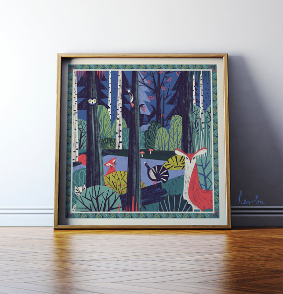 In a Forest. Illustration art. Giclée print on by GosiaHerba