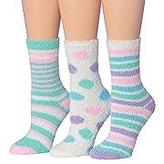 Tipi Toe Women's 3-Pairs Cozy Microfiber Anti-Skid Soft Fuzzy Crew Socks (FZ09-A)