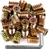 """40Pcs Anwenk 1/4""""-20 x 15mm Furniture Screw in Nut Threaded Wood Inserts Bolt Fastener Connector Hex Socket Drive for Wood Fu"""