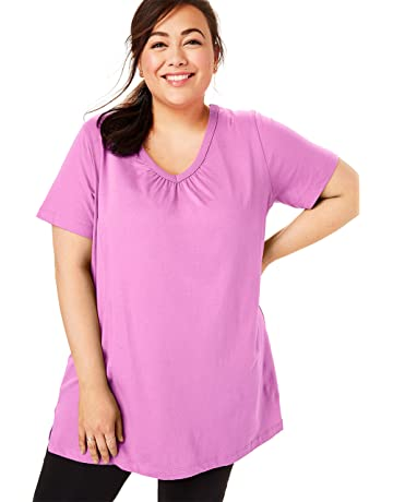 14a74688e Woman Within Women's Plus Size Perfect Shirred V-Neck Tunic