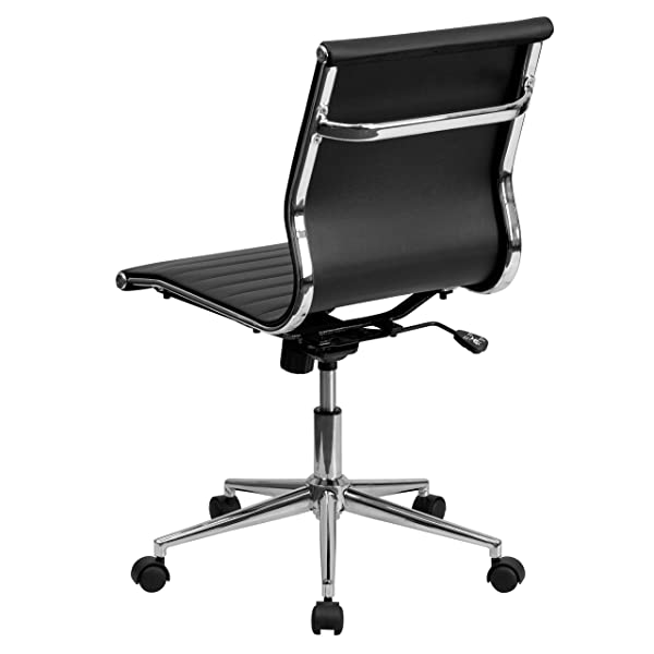 2xHome Mid-Back Armless Ribbed Leather Swivel Conference Chair Black