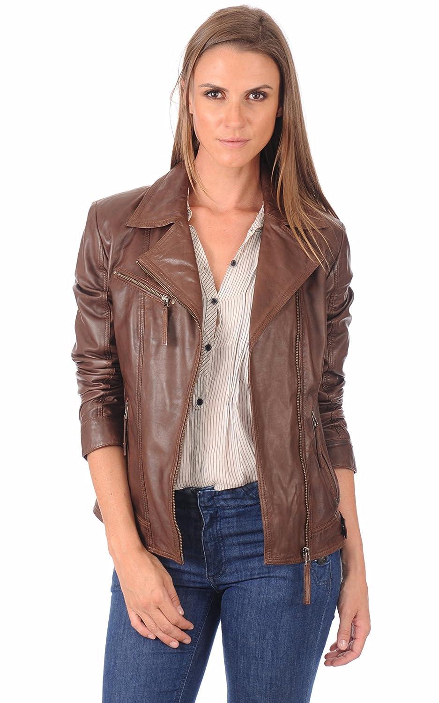 Dark Brown ZohaCollection Women's Lambskin Bomber Biker Jacket