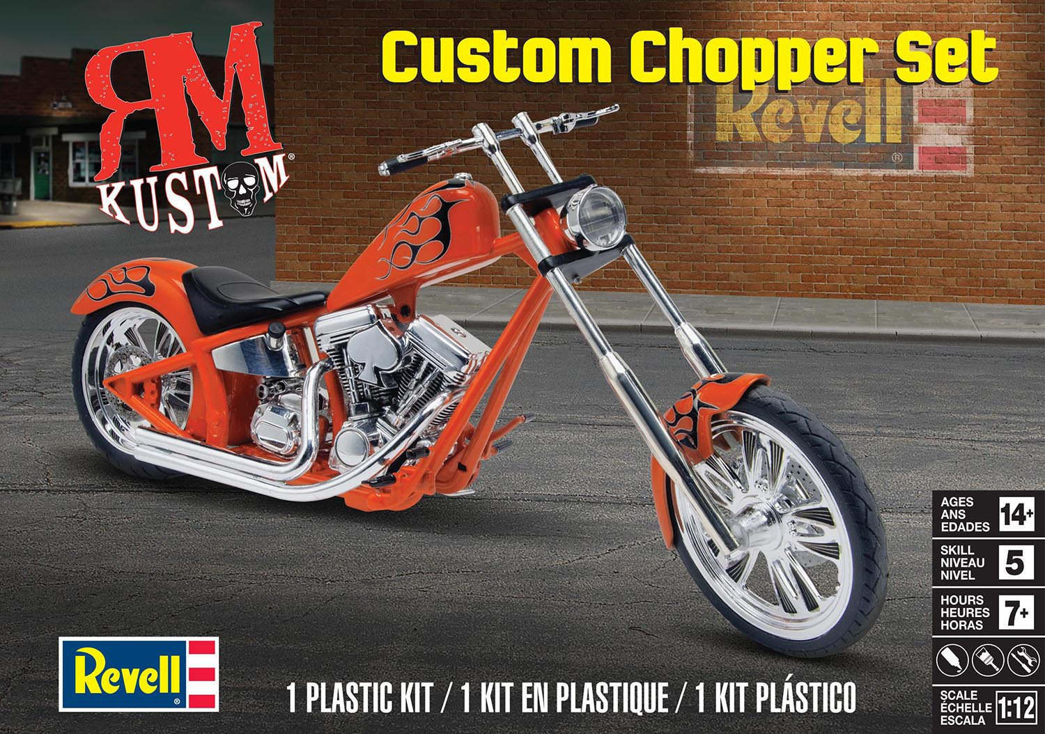 Custom Chopper Set RM Kustom Motorrad Bike 1:12 Model Kit Bausatz Revell 7324