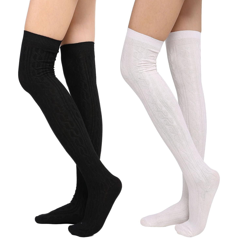 Black+white Womens Long Stockings Over Knee Thigh High Socks LeggingsOne,Two,Three Pairs