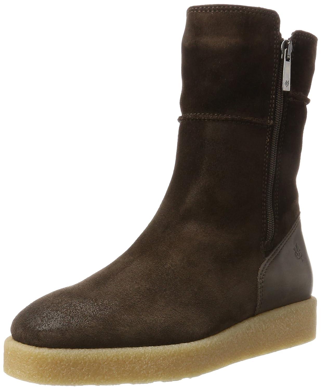 Marc O'Polo Flat Heel Bootie 70914296001304, Botas Plisadas para Mujer39 EU|Marrón (Dark Brown)