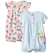 Carter's Baby Girls' 2-Pack Romper, Bird/Butterfly, 9 Months