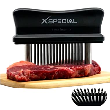 XSpecial Meat Tenderizer Tool > TRY IT NOW, Taste The Tenderness or REFUNDED! - Kitchen Gadget Tenderizers 48 Blades Stainless Steel Needle + Best For Tenderizing, BBQ, Marinade & Flavor Maximizer!