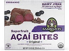 Sambazon Organic Superfruit Açaí Bites, Açaí Berry Sorbet with Dark Chocolate, 9 Count (Frozen)