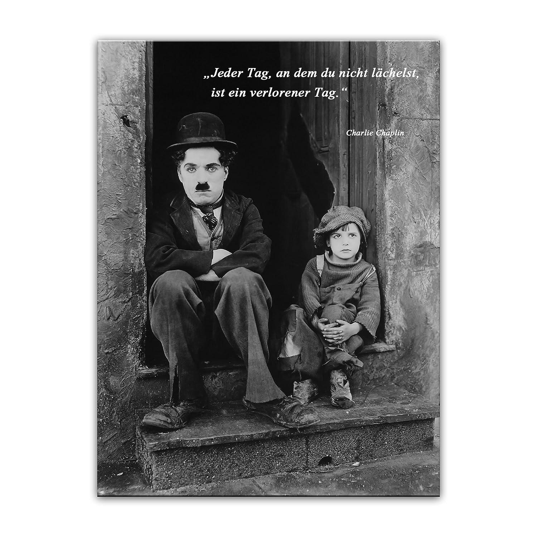 Leinwandbild mit mit mit Zitat - Jeder Tag, an dem du Nicht lächelst, ist EIN verlorener Tag. - II - (Charlie Chaplin) 60x80 cm - Sprüche und Zitate - Kunstdruck mit Sprichwörtern - Vers - Bild auf Leinwand a2743e