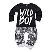 Newborn Baby Boys Clothes Wild Boy Letter Print T-Shirt Tops and Pants Outfits 2PCS Outfits Set