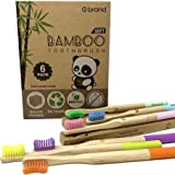 Adult Bamboo Toothbrush, 6 Pack, ROUND Handle, Soft Bristle Toothbrush, Eco Friendly & Natural, BPA Free, Wooden Toothbrushes