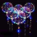 12 Packs LED Light Up BoBo Balloons Multicolor,18 PCS Clear Bobo Balloons,3 Levels Flashing LED String Lights,20 Inches Bubbl