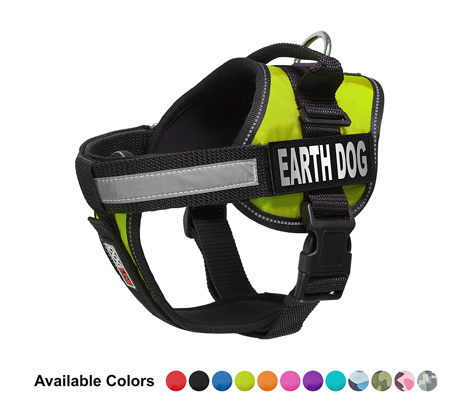 Dogline Vest Harness for Dogs and 2 Removable Earth Dog Patches, X-Large 36 to 46 , Green