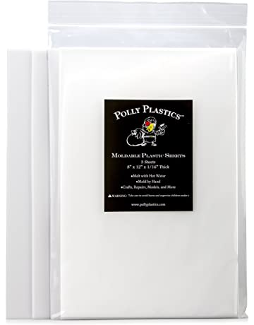 Polly Plastics Heat Moldable Plastic Sheets - 3 Thermoplastic Sheets, 8-inch x 12