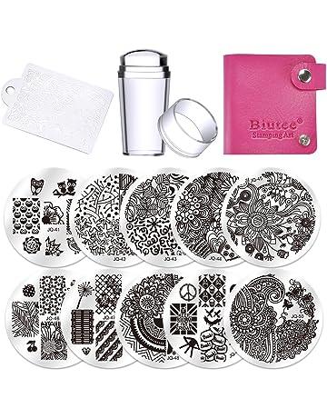 Biutee 10 Placas Estampacion Uñas Stamping Nail Art Plantilla con 1 Sello de Silicona y 1