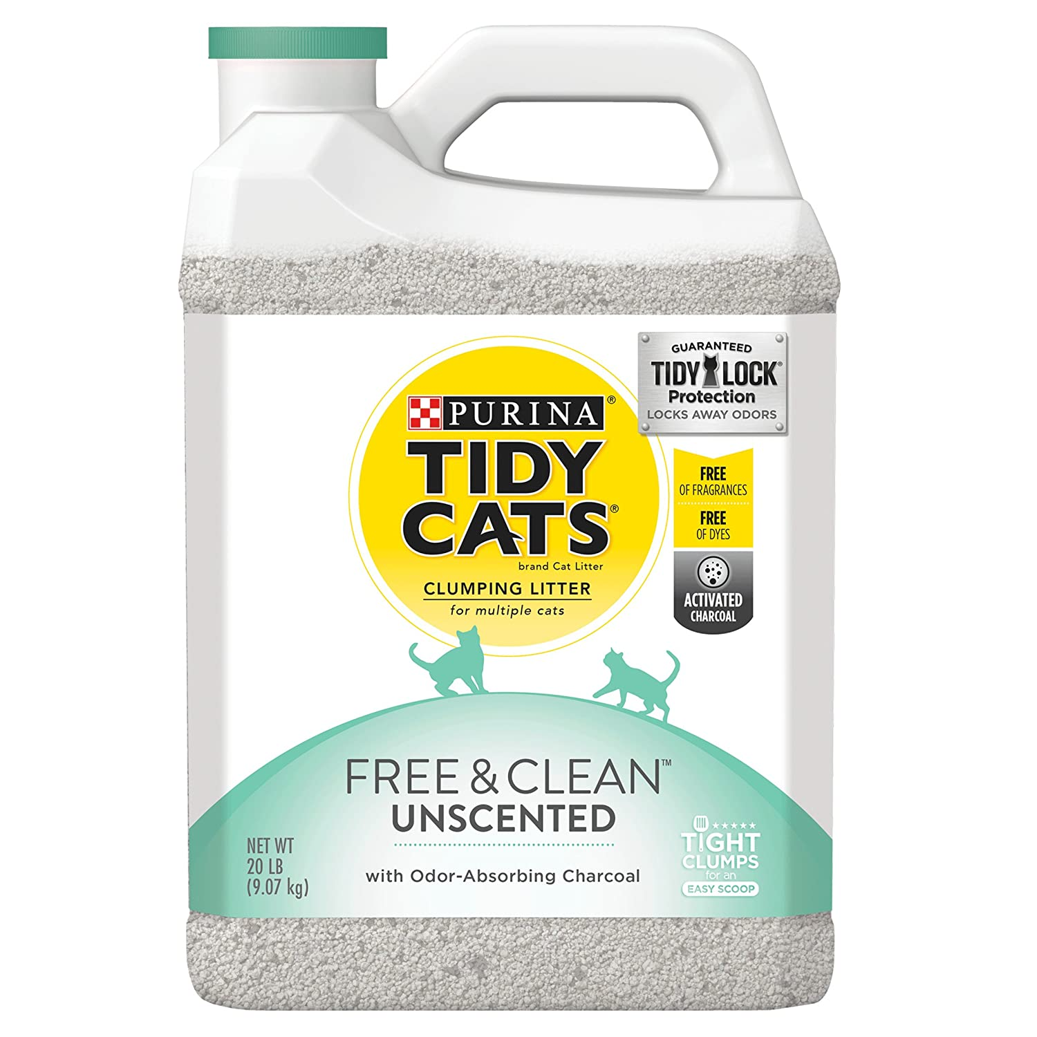 20 lb. Pail (Pack of 2) Purina Tidy Cats Free & Clean with TidyLock Predection Clumping Cat Litter Two (2) 20 lb. Jugs