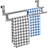 Kitchen Towel Holder Over Cabinet Towel Bar Rack, Expandable Double Over The Door Towel Rack for Universal Fit on Inside or O