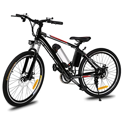 Busyall AIMADO Vélo Électrique 26 Pouces Vélo de Montagne à 21 Vitesses, E-Bikeavec Lithium-ION Batterie Amovible 36V 250W - Phare à LED - Vitesse 30 km/h – Autonomie 45-55 km - Noir (EU Stock)