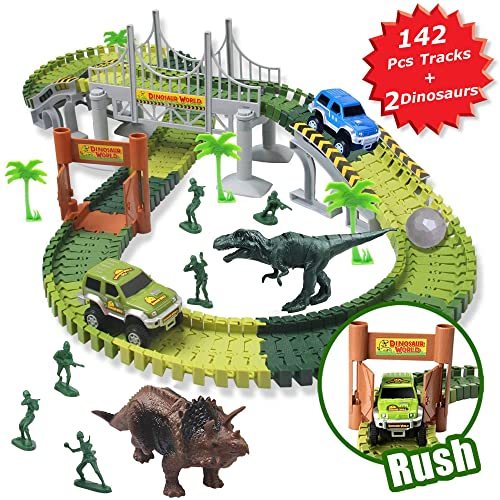 MIECOO Slot Car Race Track Sets Jurassic World Dinosaur Toys Create A Road With 142