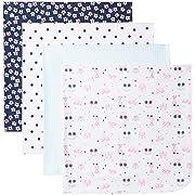 Gerber Baby Girls 4 Pack Flannel Blanket, Princess, One Size