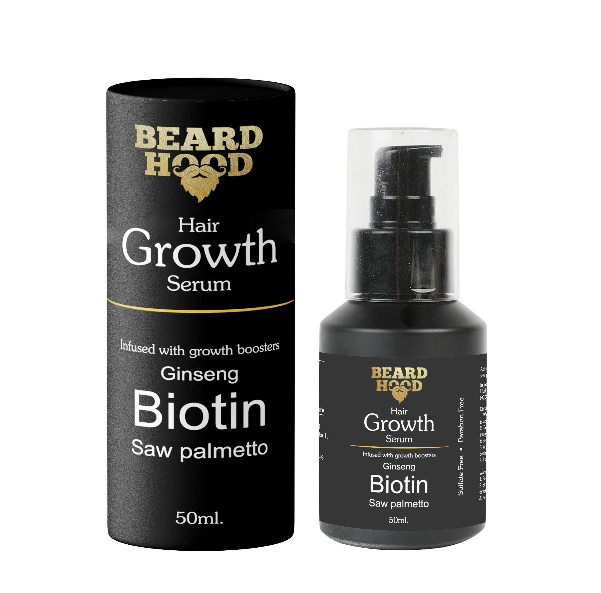 Beardhood Beard and Hair Growth Serum Growth Boosters, White Transparent, 50ml product image