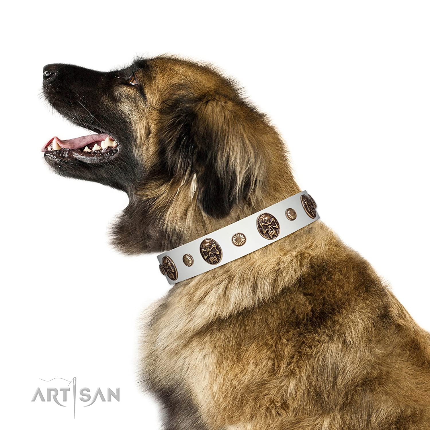Fits for 34 inch (85cm) dog's neck size 34 inch FDT Artisan Fatal Beauty White Leather Dog Collar with Old Bronze-Like Studs and Oval Brooches 1 1 2 inch (40 cm) Wide Gift Box Included