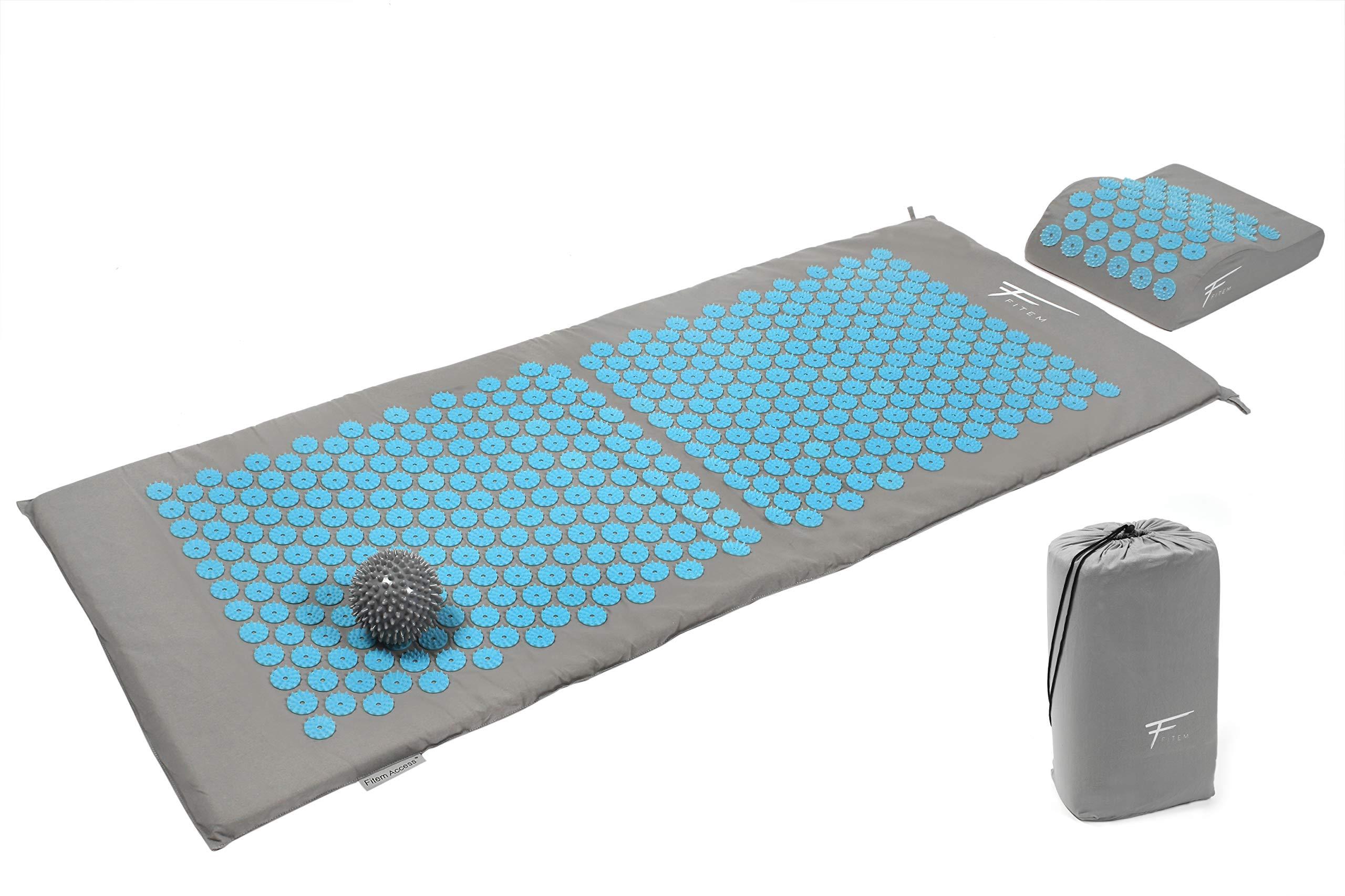 Fitem Kit de acupresión XL - Cojín + Esterilla de acupresión + Bola de masaje -