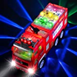 Electric Fire Truck Kids Toy - with Bright Flashing 4D Lights & Real Siren Sounds | Bump and Go Firetruck for Boys | Automati