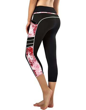 bae120071a Sugar Pocket Womens Yoga Capris Running Pants Workout Legging Tummy Control  with Side Pocket
