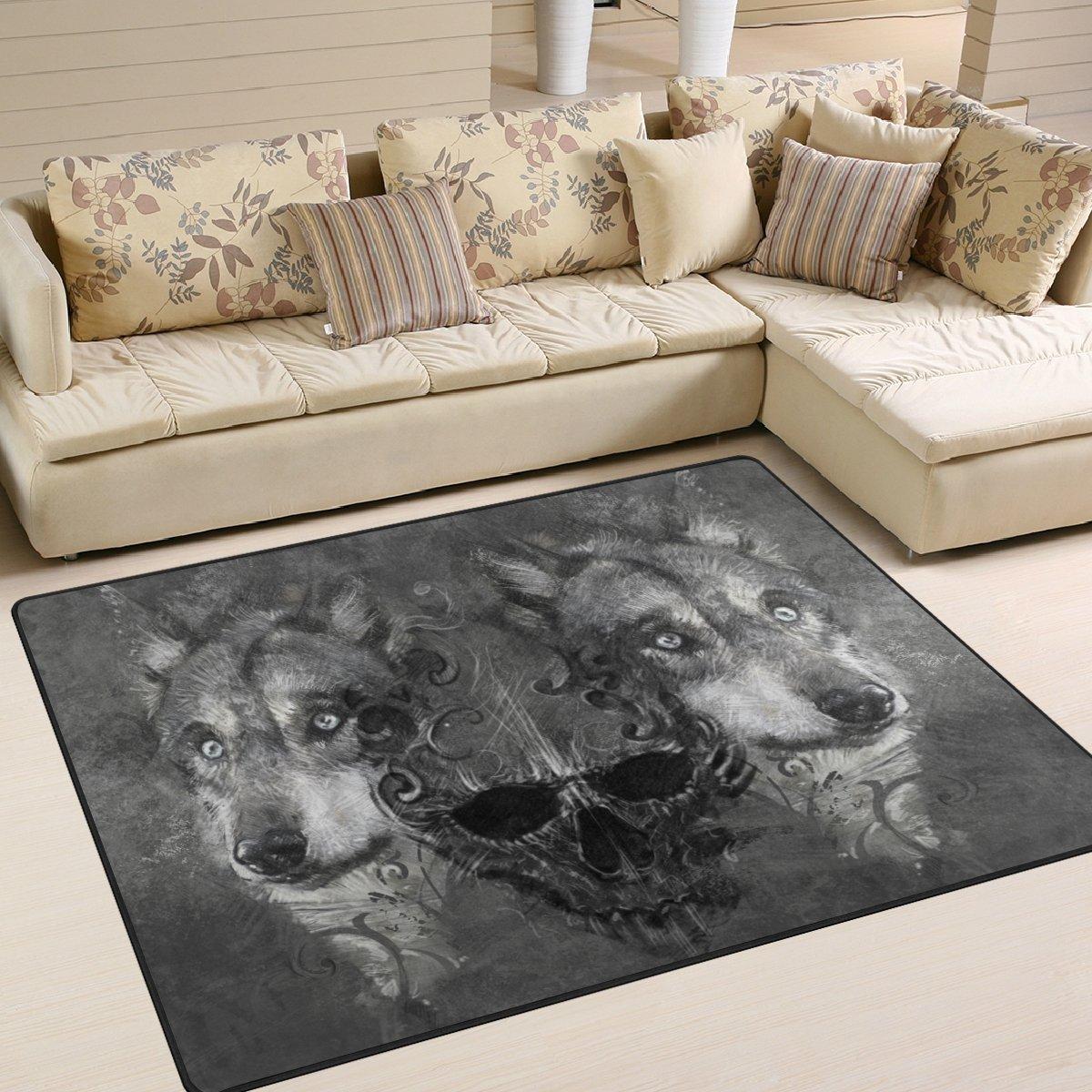 Ingbags Super Weich Modern Skull Wolf, ein Wohnzimmer Teppiche Home ...