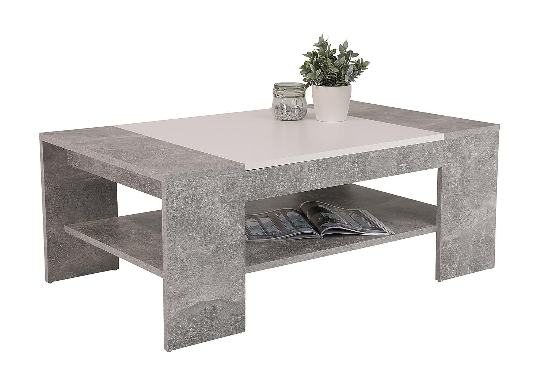 Couchtisch Oliver,  Holzwerkstoff Dekor Beton-Weiß, 111x67x44 cm