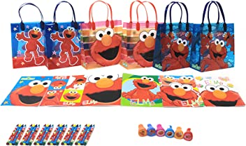 7498d0709a06 Sesame Street Elmo Party Favor Set - 6 Packs (42 Pcs) by GoodyPlus