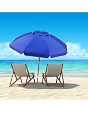 Pure Garden (PURNC) 50-LG1094 Pure Garden Beach Umbrella with 360 Degree Tilt-Portable Outdoor Sun Shade Canopy with UV Protection Sand Anchor, Carrying Case (7 Ft, Blue)